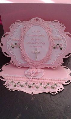 christening card, made with spellbinder dies.: Cards Made With Spellbinders, Baptisms Cards Confirmation Cards, Baptism Cards, Easter Cards Religious, Christening Card, First Communion Cards, Stepper Cards, Sorry Cards, Spinner Card, Baby Boy Cards