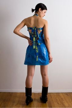 Adriana Young -- Ikea blue bag halter dress _ she's an instructor at Parsons School of Design