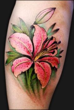 Realistic pink lily on leg - 55+ Awesome Lily Tattoo Designs <3 <3