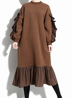 Retro o neck plus size splicing pleated dress 31 stunning women casual fall outfit with sneakers Stylish Dresses, Women's Dresses, Plus Size Dresses, Plus Size Outfits, Wrap Dresses, Hippie Dresses, Short Dresses, Striped Dress Outfit, Colorblock Dress