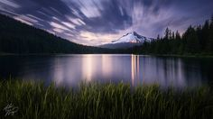 Alex Noriega - Jun 21, 2012 A 2-minute exposure taken almost an hour after sunset. I light-painted the grass with my headlamp. Mount Hood, Oregon, Trillium Lake, etc.