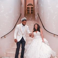 Seattle Seahawks safety Earl Thomas (left) married his high school sweetheart Nina Heisser (right) on Saturday