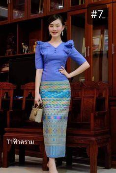 Temple Dress, Thai Fashion, Thai Traditional Dress, Vintage Wedding Photos, Thai Dress, Silk Skirt, Silk Top, New Outfits, Blouses For Women