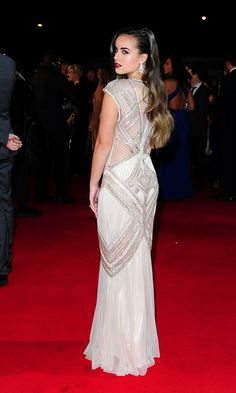 Soap rival: Georgia May Foote looked incredible in her fitted white and silver embellished gown as she posed for photographers on the red ca. Nude Gown, Sheer Gown, Georgia May Foote, Jacqueline Jossa, Caroline Flack, White Outfits, Sexy Outfits, Embellished Gown, Pink Gowns