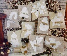 French Country burlap Christmas ornaments PDF por Hudsonsholidays