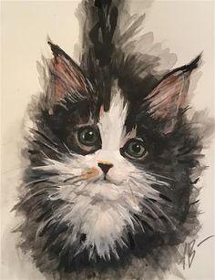 """Daily Paintworks - """"Kitchen kitten"""" - Original Fine Art for Sale - © Annette Balesteri"""
