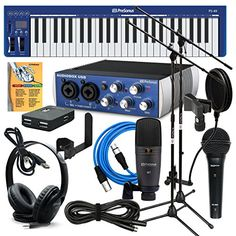 PreSonus AudioBox USB Music Creation Suite BUNDLE w/ Microphones, Stands, Cables, MIDI Keyboard, Headphones, & Software PreSonus http://www.amazon.com/dp/B01CGQPS20/ref=cm_sw_r_pi_dp_AHE4wb0YP04A2