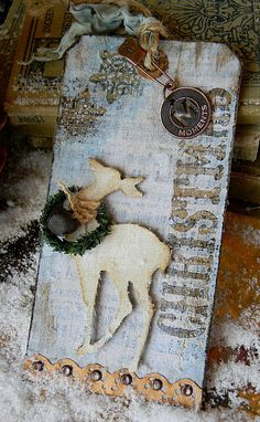 My version of Tim Holtz's Day 2 Christmas tag