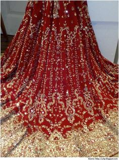 Stunning Lehenga with Zardozi Design. Zardosi work involves the use of gold thread and sequins, stones, glass, and beads. Zardosi embroidery design looks stunning on lehengas and sarees if done in gold, silver and colourful thread.