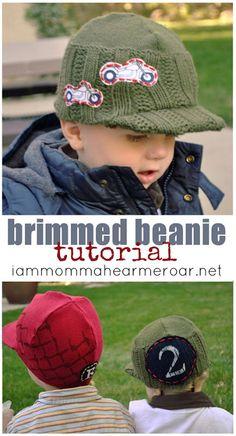 Beanie hat tutorial with a brim...by I am Momma Hear Me Roar