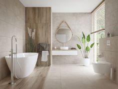Neutral Bathroom Tile, Washroom, Bathroom Interior Design, Construction, Tiles, Bathtub, House Design, Home Decor, Keep Calm