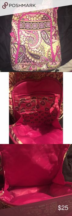 """Vera Bradley Backpack Worn but kept in good condition! Only """"issues"""" are in the front pocket there are some pen marks inside at bottom as shown in pic & on the straps & top right part of bag there is slight color fading. not even noticeable when on! Price reflects the wear. Super cute & a great backpack for school, work, etc. Has a lot of life left & b4 shipping I will wash it to help clean off any """"dirty"""" part. FYI dark areas on side trim inside of straps is not dirty. Dark purple color is…"""