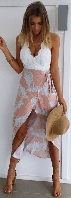 #summer #muraboutique #outfitideas | White Lace + Palm Print Maxi Dress