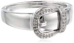 Sterling Silver Buckle Diamond Ring (0.05 cttw, I-J Color, I2-I3 Clarity)