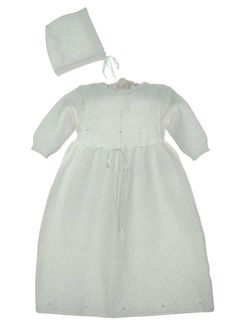 NEW Imagewear White Cotton Knit Gown with Rosebuds and Matching Bonnet $75.00