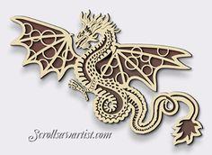 Scroll Saw Patterns :: Mythical :: Dragons :: Fretwork Dragon -