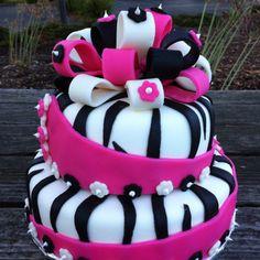 Zebra with HOT pink cake