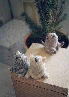 валяние, мастер-класс по валянию, кот, игрушка, валяние миниатюры, мастер-класс. Cats.