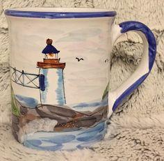 Mesa International Maritime Handcrafted In Hungary Pottery Mug Lighthouse Scenes #MesaInternational