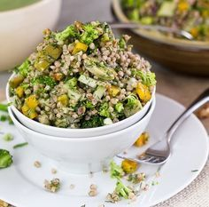 Cold buckwheat groats salad with broccoli bell peppers fresh dill chayotte o Yummmmmy Buckwheat Salad, Buckwheat Recipes, Healthy Salad Recipes, Vegetarian Recipes, Cooking Recipes, Foodies, Food And Drink, Veggies, Healthy Eating