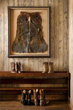 Create a shadowbox or frame your old chaps | Stylish Western Home Decorating