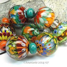 "ANASTASIA--lampwork beads--(7)--""SUMMER PARTY""--SRA #set"