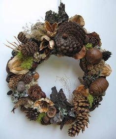 Winter Dried Seed Pod and Cone Wreath