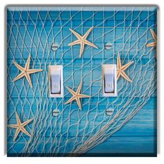 Nautical-Star-Fish-Net-Wood-Planks-LIGHT-SWITCH-COVER-PLATE