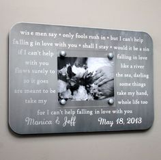 Metal Picture Frame 10th Anniversary Gift - Engraved Lyrics, Vows for 10 Year Wedding Anniversary Gift
