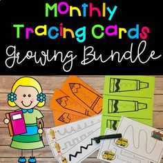 Tracing Cards: A Fine Motor Growing Bundle! This is a great fine motor activity to grow pre-writing skills! $