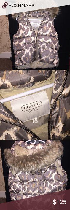 Coach Vest Beautiful coach ocelot print vest. Worn once. Very warm ! Coach Jackets & Coats Vests