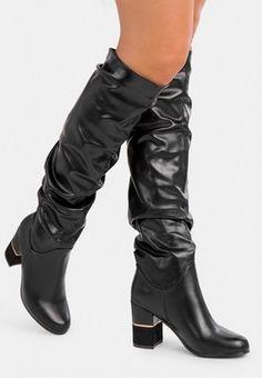 Cizme cu toc Sauvain A Negre Knee Boots, Wedges, Heels, Lei, Women, Fashion, Heel, Moda, Fashion Styles