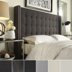 Inspired by Queen Anne style, this modern wingback headboard create a little corner to curl up. The nailhead and tufted button headboard design make this bed more stunning and attractive Made for a qu...