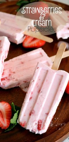 Strawberries and Cream Popsicles #justeatrealfood #kitchendreaming