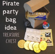 A great party bag idea, perfect for a pirate party theme. Treasure chests to decorate - Bubbablue and me