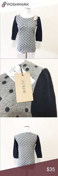 """NEW J. CREW polkadot artist T size XS Brand: j. Crew artist T  Size: XS Chest flat: 16"""" Length flat: 22"""" Material: in photos, 3/4 sleeves. Color is navy and gray  Condition: NEW WITH TAGS!  ✔️⭐️⭐️⭐️⭐️⭐️ ✔️Shop with confidence, I'm a posh ambassador!  ✔️Fast shipping! J. Crew Tops Tees - Long Sleeve"""