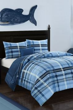 Navy Blues Plaid Comforter Set #kids #boys #bedroom #bedding #comforter Navy Blue Comforter, Plaid Comforter, Comforter Sets, Bedding, Creative Kids Rooms, Coordinating Colors, Better Homes And Gardens, Furniture Collection, Blue Plaid