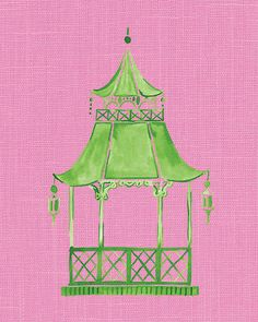 Chinoiserie Pagoda Preppy Wall Art Pink Pagoda by shelbydillon