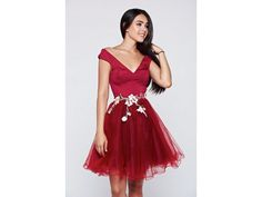 Rochie rosie scurta in clos cu tull Helga Satin, Formal Dresses, Fashion, Tulle, Embroidery, Dresses For Formal, Moda, Formal Gowns, Fashion Styles