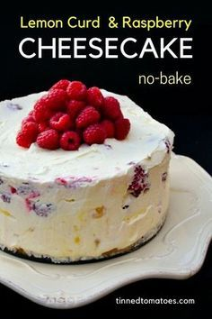 Deep Lemon Curd and Raspberry No-Bake Cheesecake. A luxurious deep no-bake lemon cheesecake studded with fresh raspberries that's super easy to make and a real delight to make. It's a fabulous Sunday dessert. #cheesecake #no-bakecheesecake #nobake #lemoncheesecake #lemoncurd #raspberries #dessert #lemondessert #cake