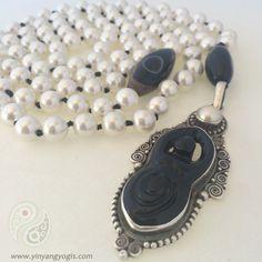 Pearl & Black Onyx Yogi Mala
