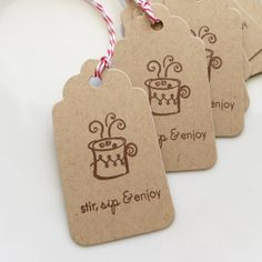 Hot Cocoa Tags Stir, Sip & Enjoy - Set of 8 - Custom Colors Available - Christmas Tags Holiday Tags Holiday Treat Tags