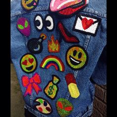 Emoji kawaii sequin patches for custom denim by KingSophiesWorld -green alien -pill