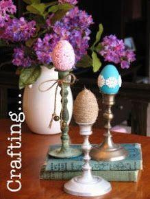 Easter eggs in candlesticks.  Like.