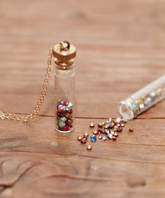 Multicolored Vintage Rhinestone Vial Necklace #shoplately