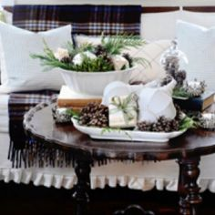 Coffee tablescape for Christmas