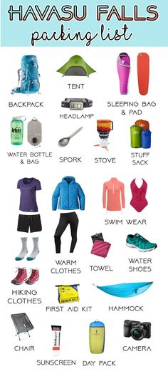 My Complete Havasu Falls Packing List (Updated for Get ready for your Havasu Falls backpacking trip! Check out our complete Havasu Falls packing list with all of the gear you need for a fun & comfortable adventure . Backpacking For Beginners, Camping Guide, Backpacking Gear, Camping Ideas, Camping Checklist, Camping Hacks, Camping Gadgets, Camping Activities, Fall Packing List