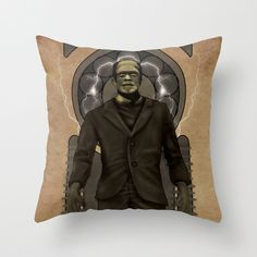 Frankenstein Nouveau Throw Pillow