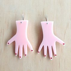 Looking for some very handy, fun earrings? You got it! Made from laser cut acrylic, rhinestones and a sterling silver plate hand-bent hooks these outrageous earrings are going to add a pop to any outfit :)  Measuring 7cm high, your Very Handy Earrings come on a backing card in their own Each To Own Pouch - great for gifting or keeping safe - although the finger nails are glued on, kind treatment will keep them there ;)  Grab some today!  Have a great day and thanks for stopping by :)