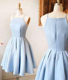 Cute Prom Dresses, Light Sky Blue Party Dresses,Halter Prom Dresses,Short Satin Homecoming Dresses #SIMIBridal #promdresses
